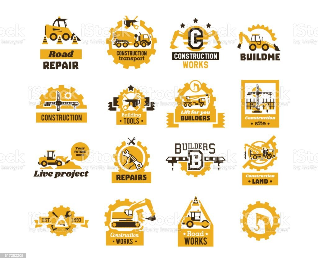 Big Set Of Logos On The Theme Of Construction Building Machinery Transport Professional Equipment And Tools Asphalt Processing Works Excavator Tractor Truck Crane Isolated On Background Stock Illustration Download Image Now