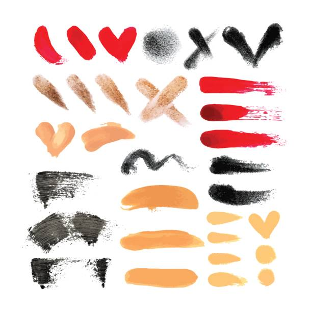 ilustrações de stock, clip art, desenhos animados e ícones de big set of makeup tools texture. nail polish, eye shadow, mascara, foundation and concealer. natural textures in beige, red, brown colors. fashion cosmetic texture set. - make up