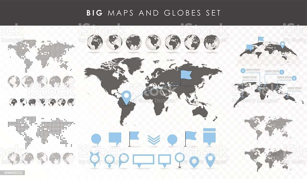 Big set of maps and globes. - ilustración de arte vectorial