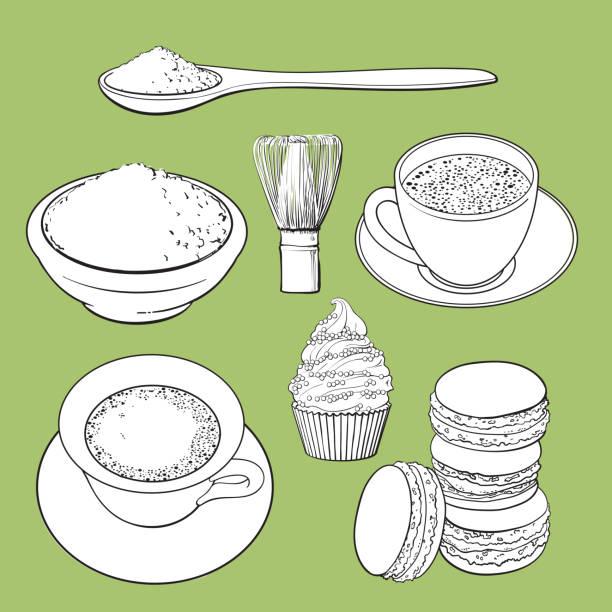 抹茶グリーン ティー、食品、アクセサリーの大きなセット - 抹茶点のイラスト素材/クリップアート素材/マンガ素材/アイコン素材