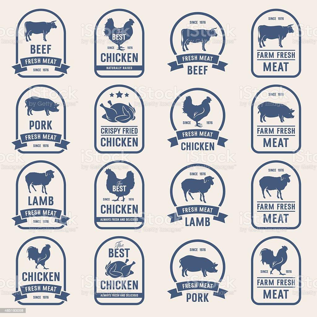 Grande conjunto de carne rótulos 001 - ilustração de arte em vetor