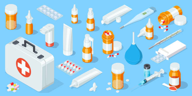 illustrazioni stock, clip art, cartoni animati e icone di tendenza di big set of medical equipment and pharmacy. first aid kit. isometric vector illustration - farmaco
