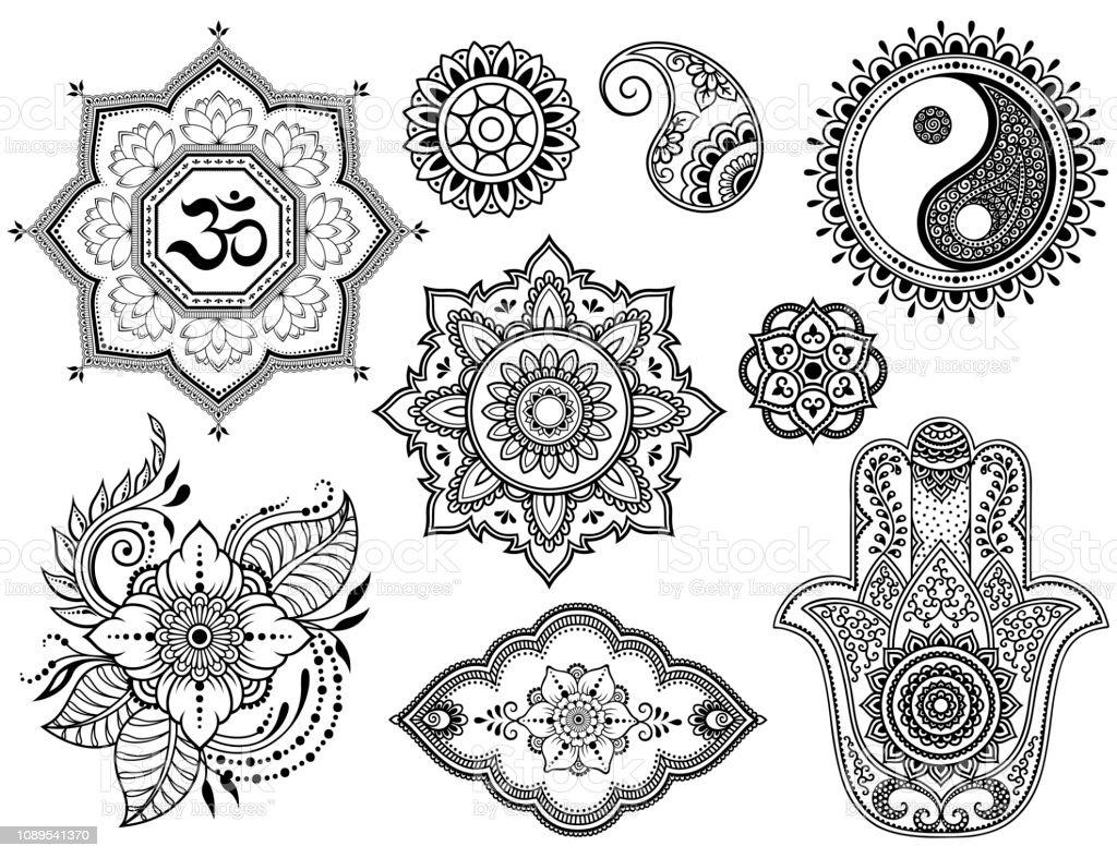 Big Set Of Mehndi Flower Pattern Lotus Mandala Mantra Om Yinyang