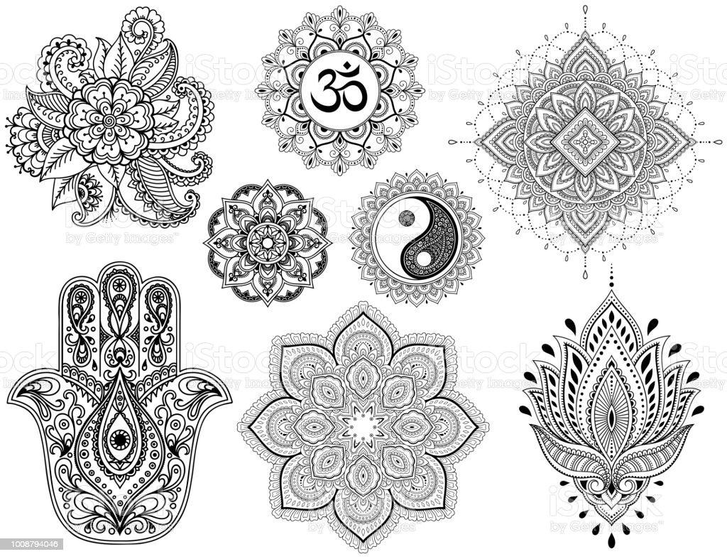Grand ensemble de mod le de fleur mehndi mandala mantra om - Grand mandala ...