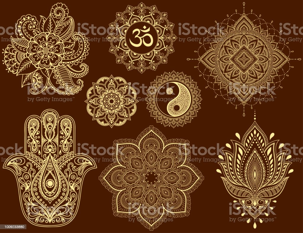 Big Set Of Mehndi Flower Pattern Mandala Mantra Om Yinyang Symbol