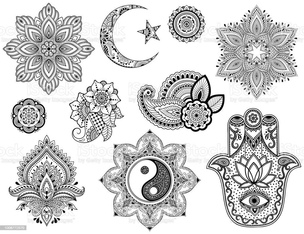 Ilustración de Gran Conjunto De Patrón De Flores De Mehndi Mandala ...