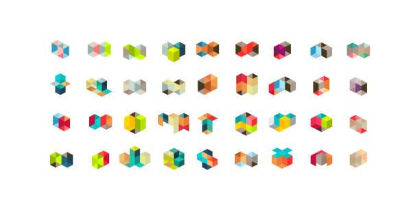 stockillustraties, clipart, cartoons en iconen met grote set van minimale geometrische multicolor vormen. trendy hipster pictogrammen en typen. zakelijke ondertekent symbolen, etiketten, insignes, kaders en randen - veelvlakkig