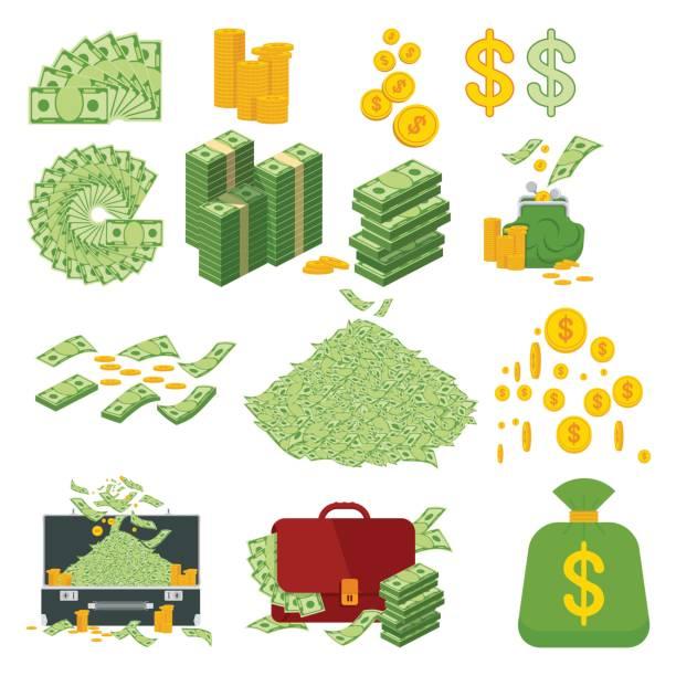 grand ensemble d'argent - Illustration vectorielle