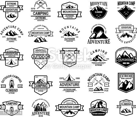 Big set of mountain camp, outdoor adventure emblems. Design element for emblem, sign, label. Vector illustration