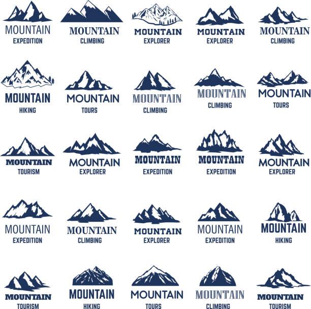 ilustraciones, imágenes clip art, dibujos animados e iconos de stock de gran conjunto de iconos de la montaña. elemento de diseño para la etiqueta, emblema, signo. - mountain top