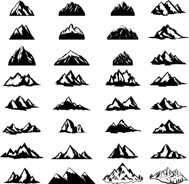 Big set of mountain icons isolated on white background. Design elements for  label, emblem, sign. vector art illustration