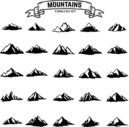 Big set of mountains icons isolated on white background. Design elements for label, emblem, sign. clipart