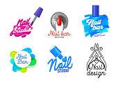 Big Set of Nail Art Studio Icons or Logo Design. Finger, Brush with Pink Polish Splash and Typography. Female Manicure and Pedicure Salon Poster Banner Flyer Brochure. Cartoon Flat Vector Illustration