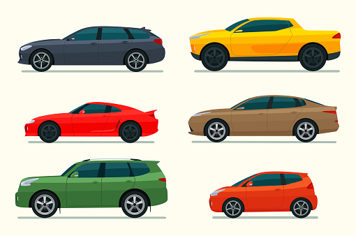 Big set of of different models of cars. Vector flat style  illustration.