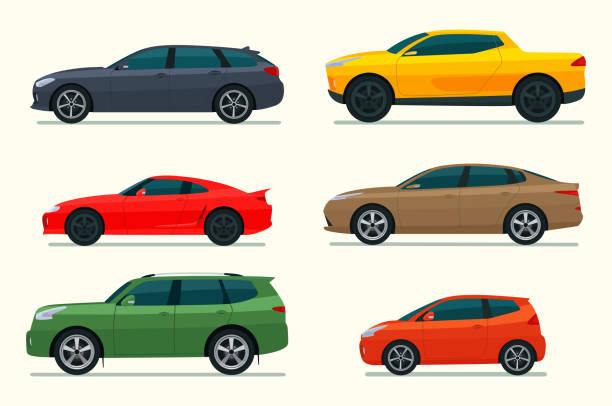 große reihe von verschiedenen modellen von autos. vektor-flachstil-illustration. - auto stock-grafiken, -clipart, -cartoons und -symbole