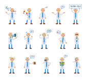 Big set of old professor characters showing diverse actions. Cheerful professor karaoke singing, dancing, sleeping holding banner, loudspeaker and doing other actions
