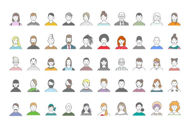 big set of people avatars for social media, website. line art portraits fashionable girls and guys. - portrait stock illustrations