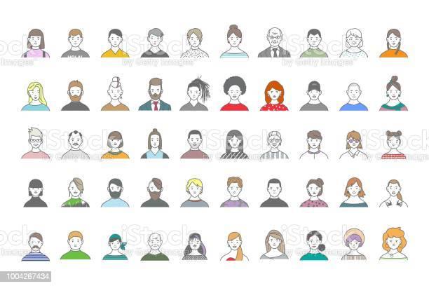 ソーシャル メディアの人々 アバターの大きなセットのウェブサイトライン アート肖像画のファッショナブルな女の子と男 - あごヒゲのベクターアート素材や画像を多数ご用意