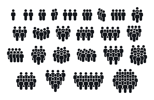 Big set of people icons. Group people. Crowd symbol. Person vector icons. Community signs.