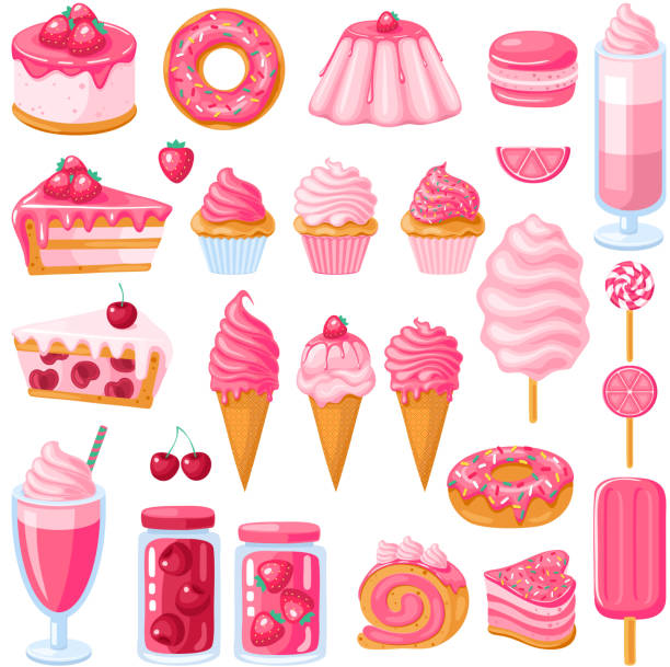 Big set of pink sweet food. Donut, ice cream, muffins, smoothies, macaroons and candies. Vector illustration Big set of pink sweet food. Donut, ice cream, muffins, smoothies, macaroons and candies. Vector illustration jello stock illustrations
