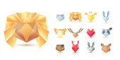 Big set of polygonal geometric multicolor animals head symbol shapes. Trendy icons and types. Business signs symbols, labels, badges, frames and borders. eps 10