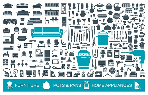 Big set of quality icons household items. Furniture, kitchenware, appliances. Home symbols