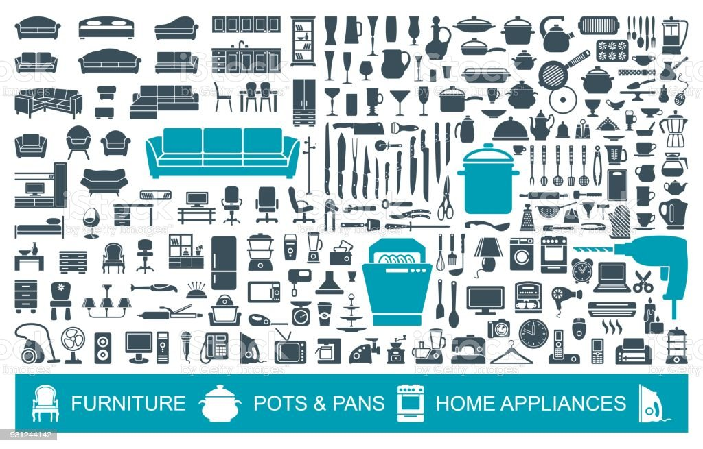 Big set of quality icons household items. Furniture, kitchenware, appliances. Home symbols vector art illustration