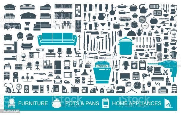 Grote Set Van Kwaliteit Pictogrammen Huishoudelijke Artikelen Meubelen Keukengerei Toestellen Huis Symbolen Stockvectorkunst en meer beelden van Apparatuur