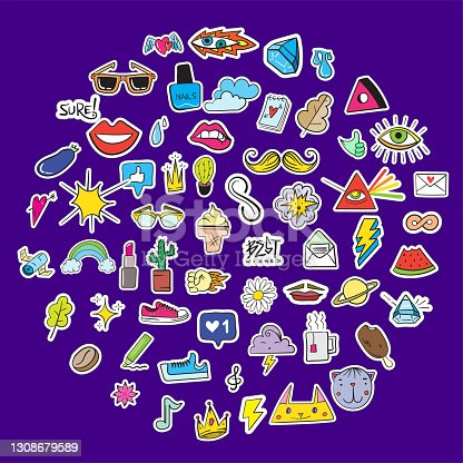 Big Set of Random Stickers Elements like Flower, Heart, Crown, Cloud, Lips, Mail, Diamond, Eyes. Hand Drawn Vector. Cute Fashionable Patches. Doodle Pop art Sketch Badges and Pins.