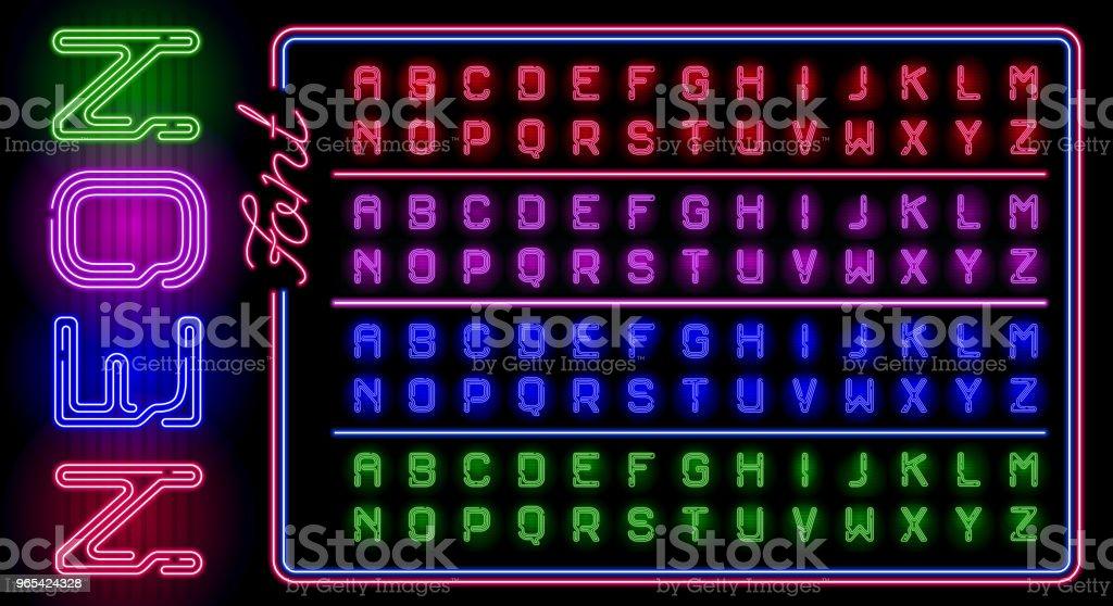 在黑暗背景下, 一大套逼真的霓虹燈與不同的霓虹燈顏色發光。帶有霓虹燈管的向量字母。 - 免版稅夜晚圖庫向量圖形
