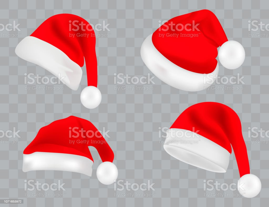 ad4827a94 Big Set Of Realistic Santa Hats Isolated On Transparent Background ...