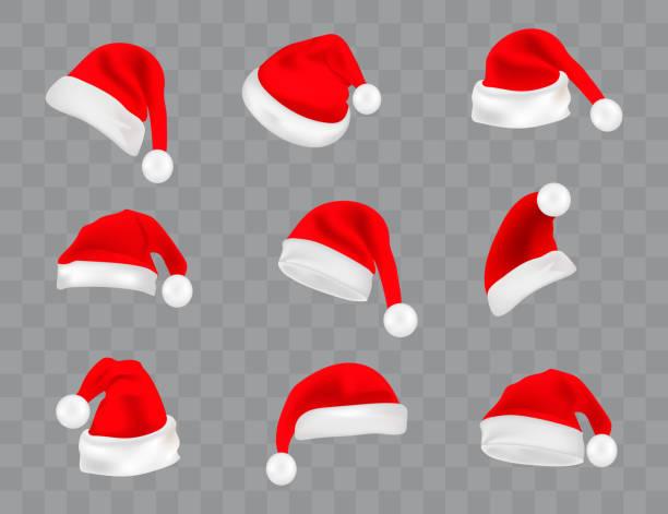 große reihe von realistisch santa hüte auf transparenten hintergrund isoliert. vektor weihnachtsmann mütze colllection, urlaub-kappe zu weihnachten abbildung - santa stock-grafiken, -clipart, -cartoons und -symbole