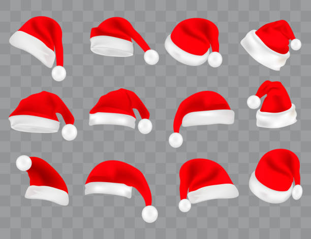 Big set of realistic Santa Hats isolated on transparent background. Vector santa claus hat colllection, holiday cap to xmas illustration Big set of realistic Santa Hats isolated on transparent background. Vector santa claus hat colllection, holiday cap to xmas illustration knit hat stock illustrations