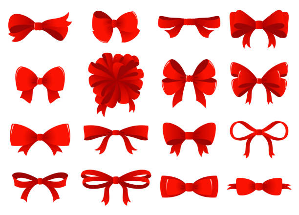 big set of red gift bows with ribbons. vector illustration - kokarda stock illustrations