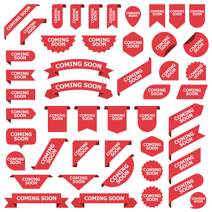 Big set of red stickers coming soon tags, labels and banners