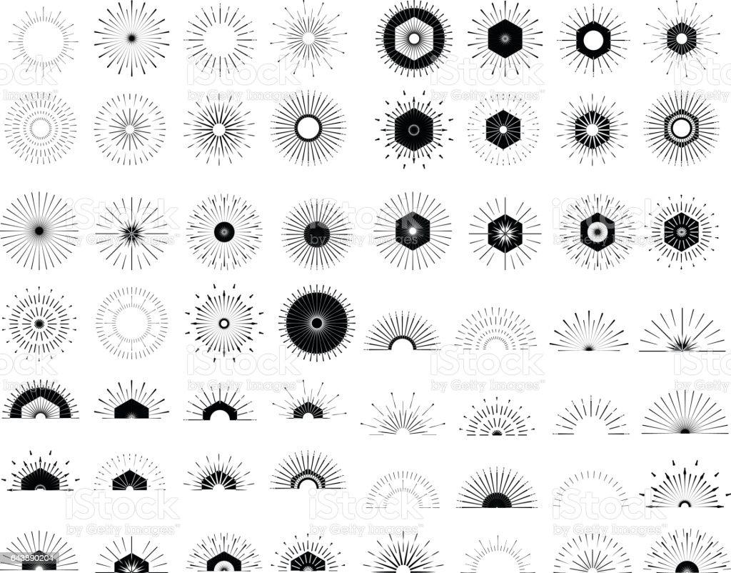 Big set of Retro Sun burst shapes.Vintage logo, labels, badges. vector art illustration