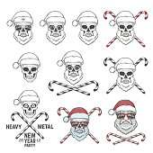 Big set of Santa Claus skulls with candy cones and