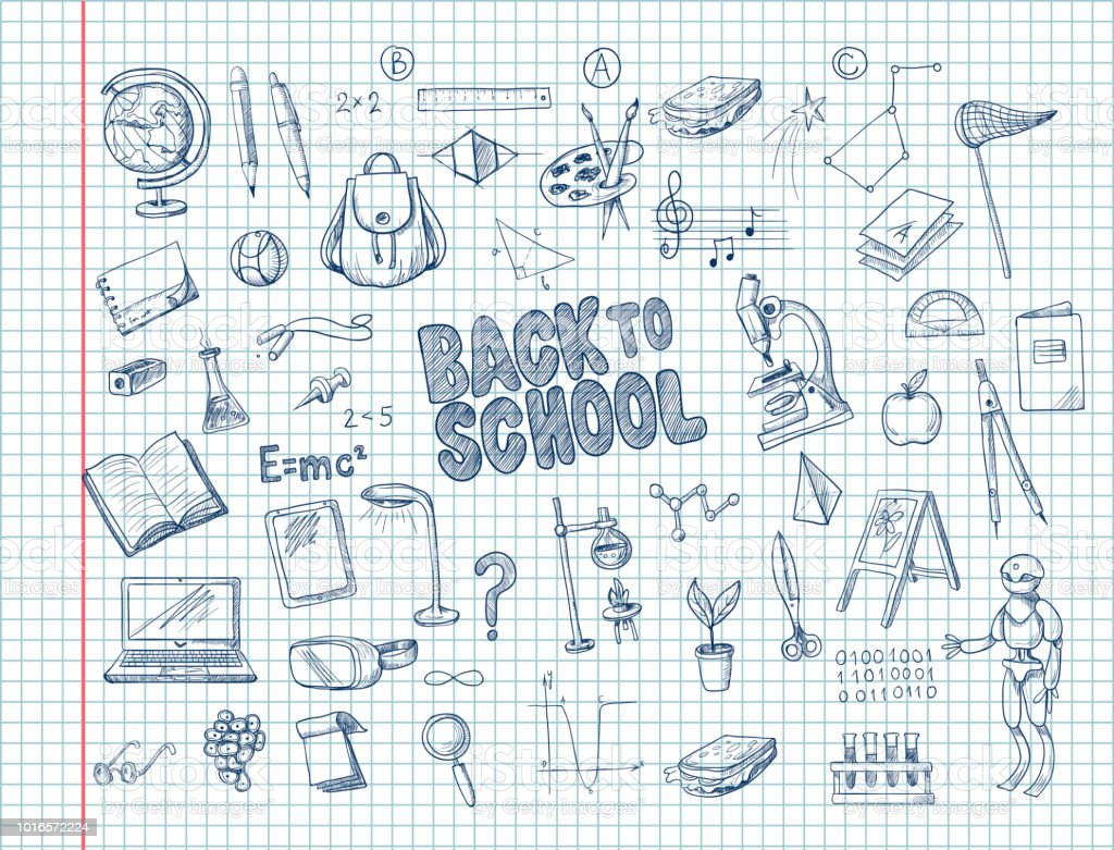 Big set of school supplies, such as a backpack, book, laptop, globe and others, drawn pen on a notebook. Vector vector art illustration
