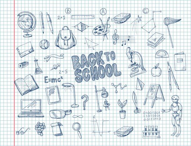 illustrations, cliparts, dessins animés et icônes de grand ensemble de fournitures scolaires, comme un sac à dos, livre, ordinateur portable, globe et d'autres, tirées de stylo sur un ordinateur portable. vector - niveau primaire