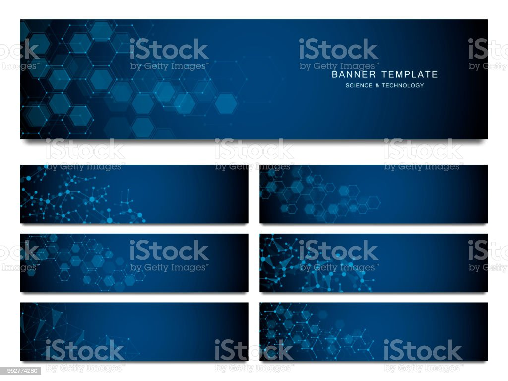 Big set of science and technology banners. Molecular and chemical structure - Royalty-free Abstract stock vector