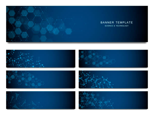 Big set of science and technology banners. Molecular and chemical structure Big set of science and technology banners. Molecular and chemical structure molecular structure stock illustrations