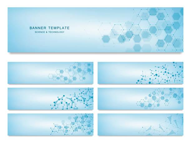 Große Reihe von Bannern, Wissenschaft und Technologie. Molekulare und chemische Struktur – Vektorgrafik