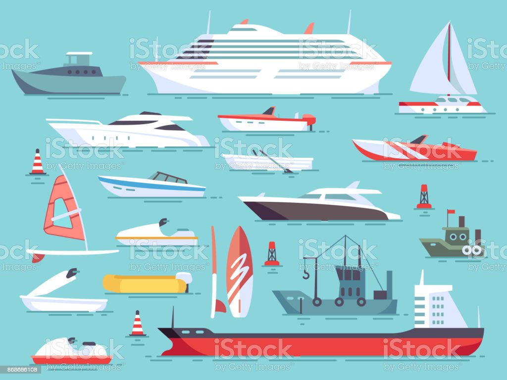 Big set of sea boats and little fishing ships. Sailboats flat vector icons vector art illustration