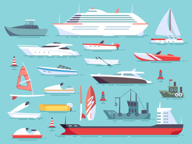 Big set of sea boats and little fishing ships. Sailboats flat vector icons Big set of sea boats and little fishing ships. Sailboats flat vector icons. Illustration of water transport yacht and ship sailboat cruise vacation stock illustrations
