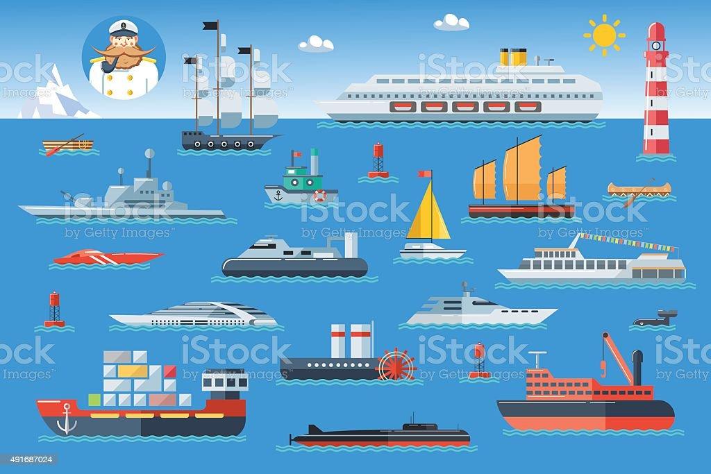 Big set of sea ships. Side view vector illustration. vector art illustration