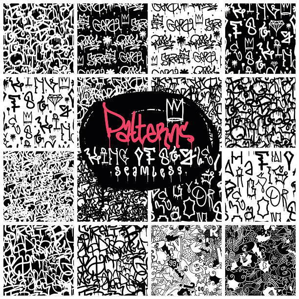 Big set of seamless patterns graffiti style Big set of seamless patterns, graffiti style, king of style in black and white colors. The set consists of 16 original calligraphy compositions alphabet backgrounds stock illustrations