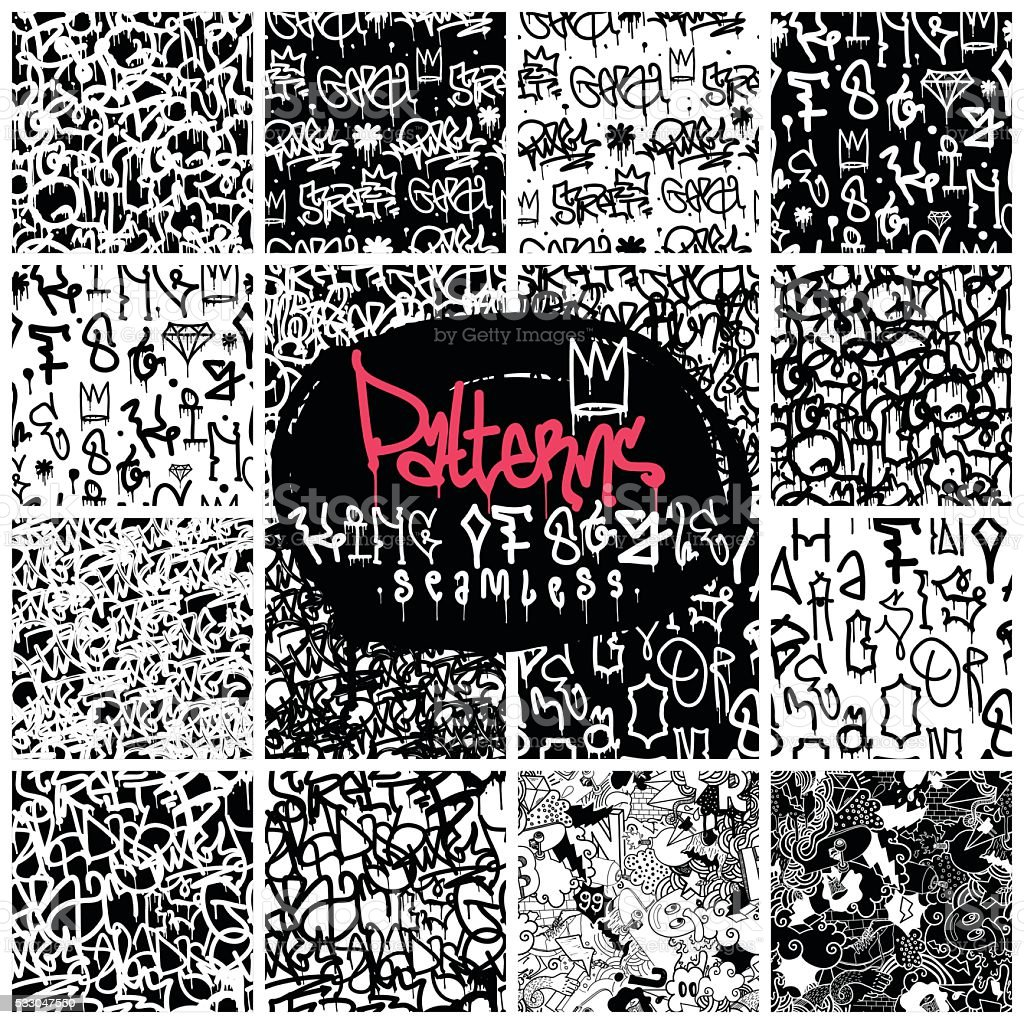 Grandes Conjunto de patrones sin fisuras de estilo grafiti - ilustración de arte vectorial