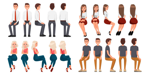 Big set of sitting people. Men in casual clothes and official clothes, woman in red skirt and a white blouse, woman in casual clothes . Cartoon realistic people. Flat young man. Front view, Side view Big set of sitting people. Men in casual clothes and official clothes, woman in red skirt and a white blouse, woman in casual clothes . Cartoon realistic people. Flat young man. Front view, Side view sitting stock illustrations