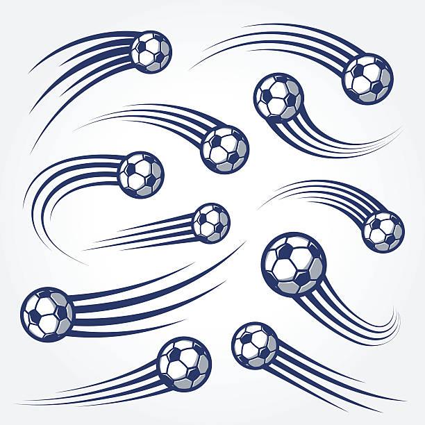 duży zestaw piłki nożnej z zakrzywioną ruchu trais ilustracje - piłka stock illustrations