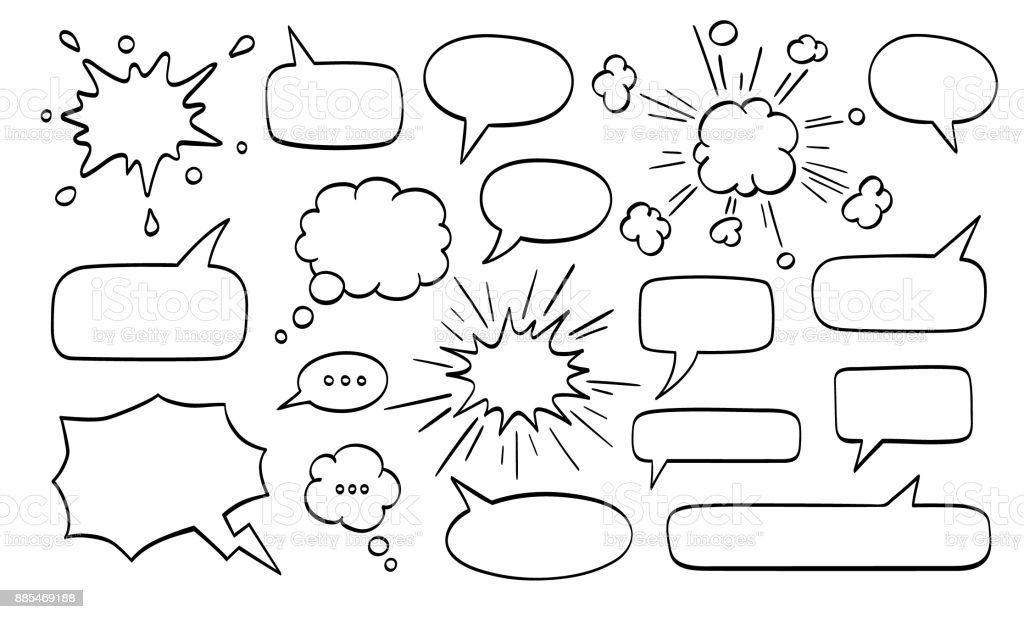Big set of speech bubbles.